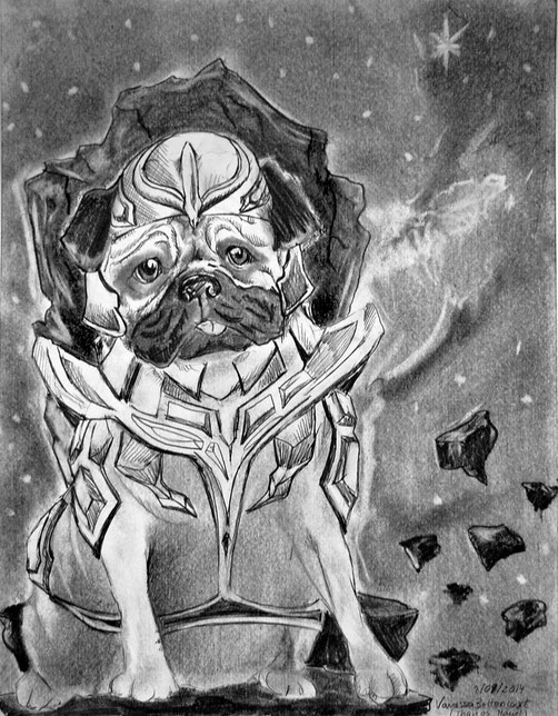 pug fanart thanos marvel