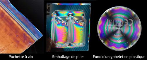Couleurs de polarisation matériaux biréfringents par contrainte