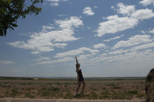 Blogger dancing in the beautiful landscape of New Mexico