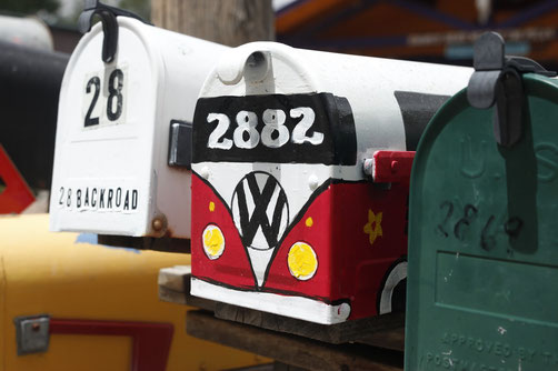 Mailboxes in Madrid, New Mexico on Turquoise Trail