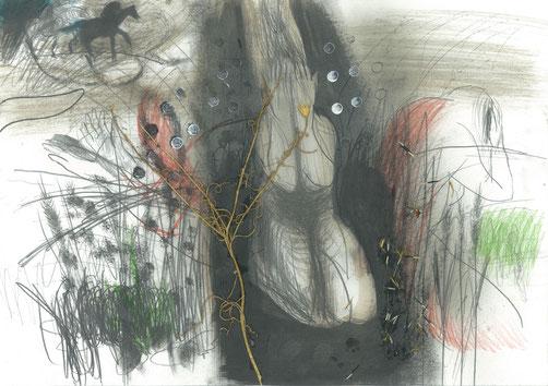 Michael Hedwig, Wilde Jagd, Zeichnung 2, 2017, 29,7x42cm