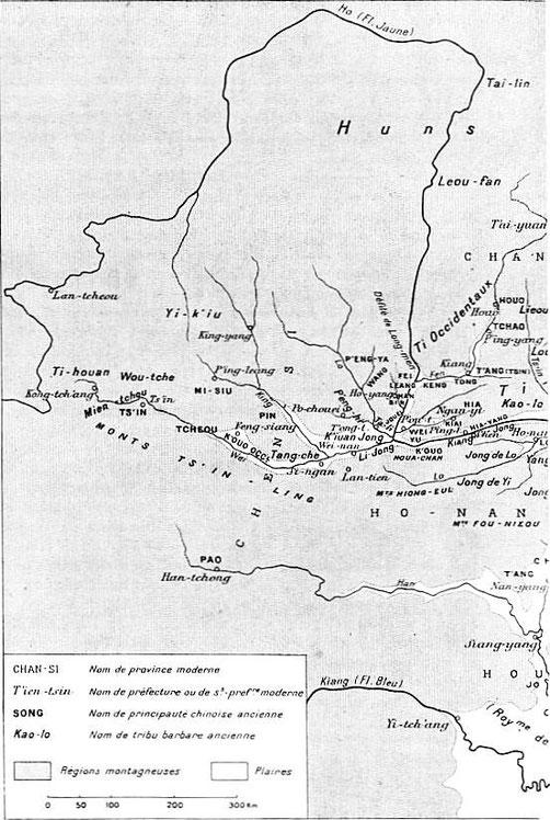 Carte Chine de l'Ouest. Henri Maspero (1883-1945) : Les origines de la civilisation chinoise. Annales de Géographie, 1926, tome 35, n°194, pp. 135-154.