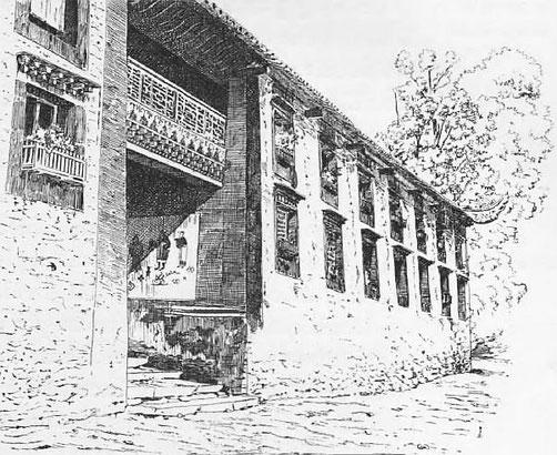 Ta-tsien-lou. Porte de lamaserie. - Mission lyonnaise d'exploration commerciale en Chine, 1895-1897. Récits de voyages. —  A. Rey et Cie, imprimeurs-éditeurs, Lyon, 1898.