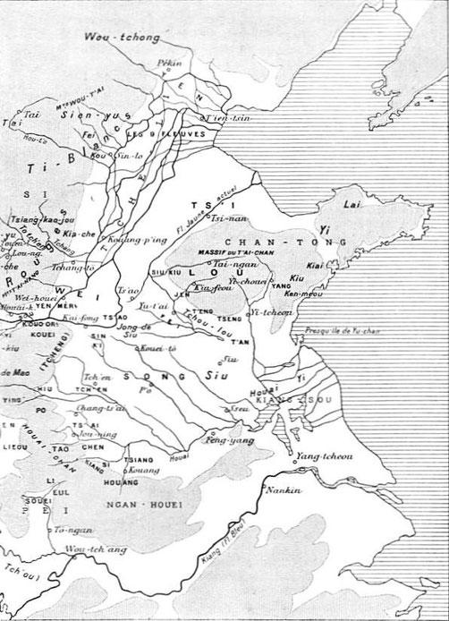 Carte Chine de l'Est. Henri Maspero (1883-1945) : Les origines de la civilisation chinoise. Annales de Géographie, 1926, tome 35, n°194, pp. 135-154.