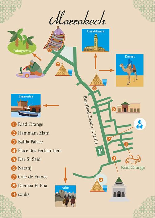 Van Bun Communicatie en Vormgeving - Dades Reizen - Riad Orange - Illustraties - Grafische vormgeving