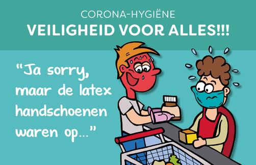 Dirk Van Bun Communicatie & Vormgeving - illustraties - tekeningen - cartoons - corona latex handschoenen