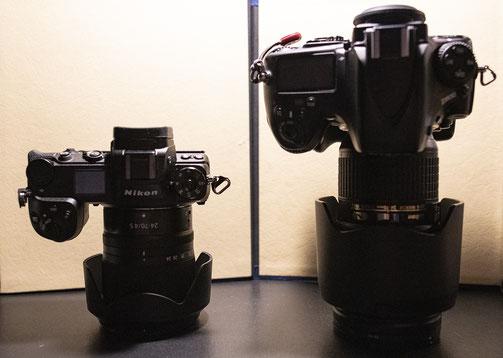 Grössenvergleich Z 6+24-70 f/4.0 S und D800+24-70 f/2,8 G