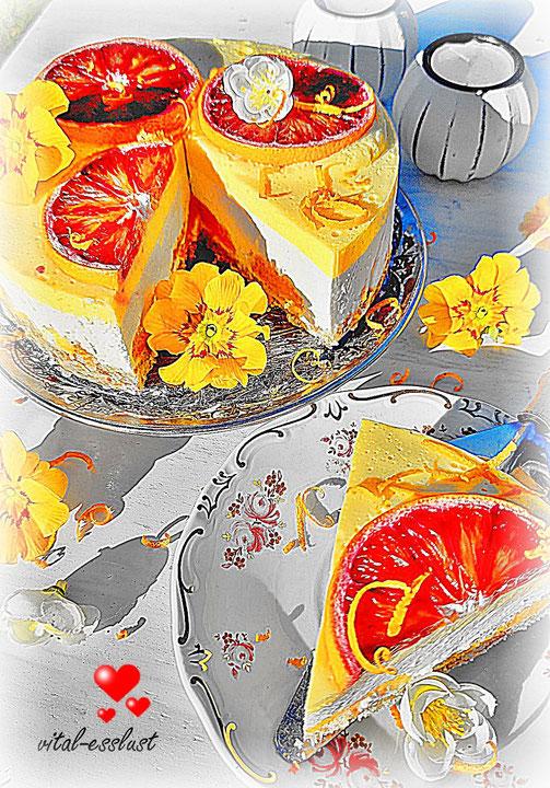 rohkost Rohkosttorte Orangen Blutorangen weiß