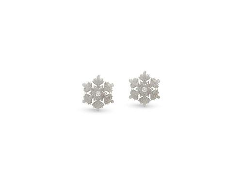 silberne schneekristall - ohrstecker mit zwei kleinen diamanten