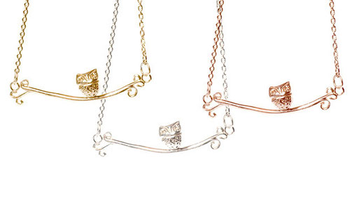 Owl on a branch necklace emma hedley jewellery, rose gold, yellow gold, silver