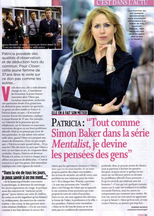 Article de presse sur une femme mentaliste