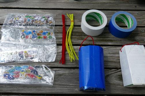 京都御苑の水遊びで紙パックでつくったシャワーを製作。自分で作った遊具で水遊びがいっそう楽しくなります。