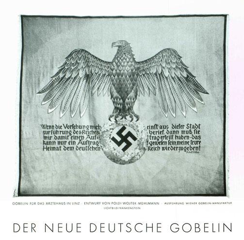 """Gobelin für das Ärztehaus in Linz, Entwurf von Poldi Wojtek-Mühlmann. Quelle: """"Die Kunst im Dritten Reich"""", 2. Jahrgang, Folge 12, Dezember 1938, S. 372"""
