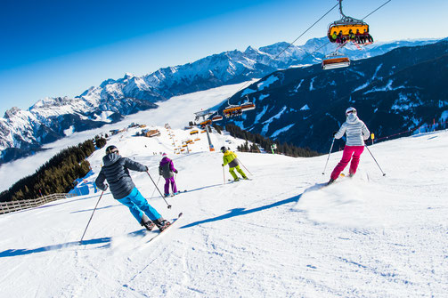 People skiing in Saalbach Austria