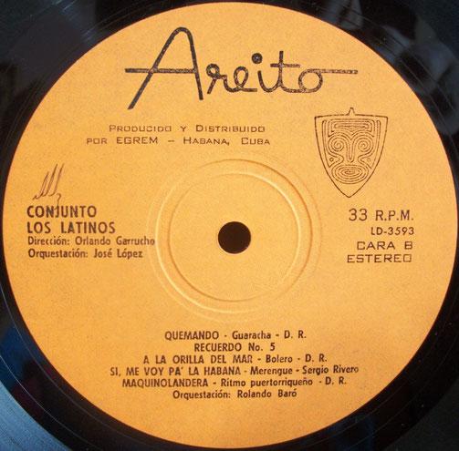 """Areito 3593 - B, """"Conjunto Los Latinos""""."""