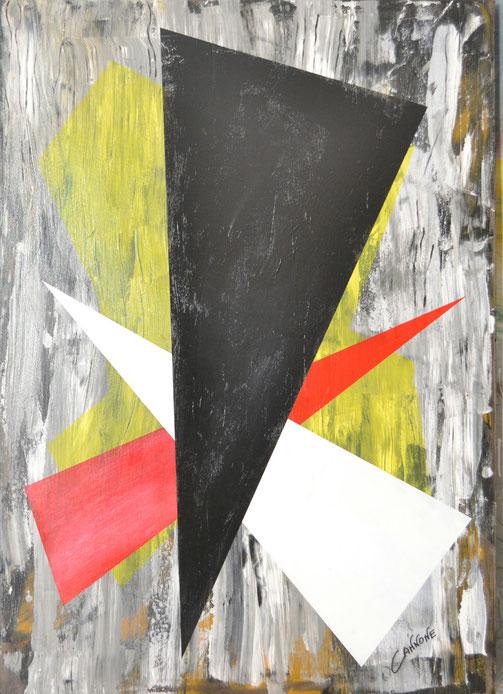 Trittico triangoli   -  tecnica mista su tela-  138x98x4    (2014)