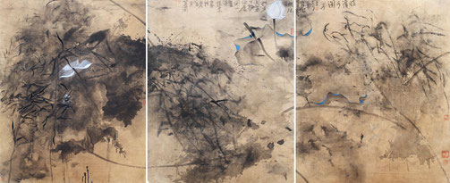 临溪水阁 WITH THE RIVER 240X100CM 纸本水墨与矿物色 INK & MINERAL COLOR ON PAPER 2006 (收藏于上海 COLLECTED IN SHANGHAI)