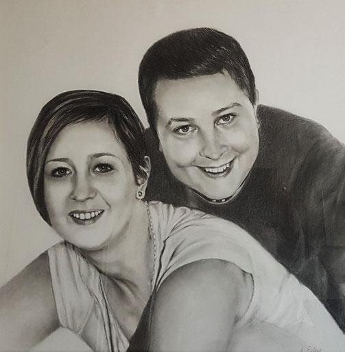Verliebt,  Bleistift  60 x 60 cm,  2019   Auftragsarbeit