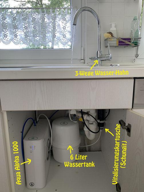mögliches Einbau- Installationsbeispiel- exclusiv 3-Wege Wasser Hahn, Vitalisierungskartusche (Schungit) zur Remineralisierung
