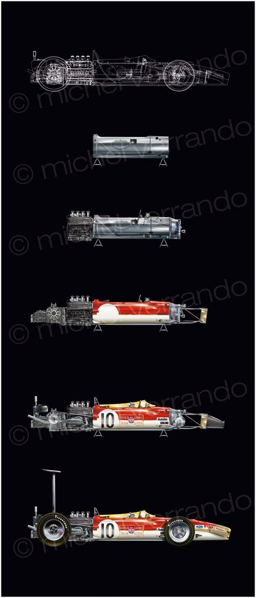 Lotus 49B - Graham Hill - art - painting - illustration - Verrando