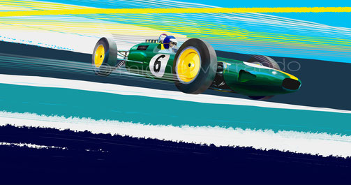 automotive art painting Lotus 25