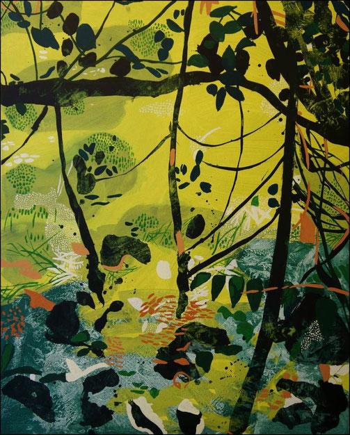 Jardin d'Eden IIIa, acrylique sur toile, 100 x 81 cm