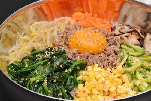 Bibimbap is a Korean dish, literally meaning mixed rice