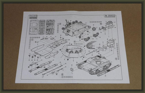 Eastern Express 35002 Small amphibian tank T-38, Instruction sheet