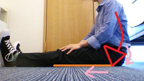 足を伸ばして座ると腰が痛い奈良県御所市の男性