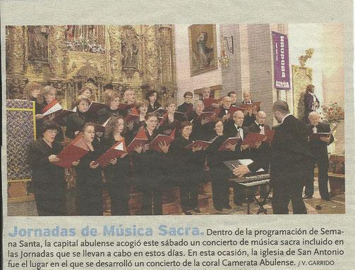 Concierto de Semana Santa . Iglesia de San Antonio ( Avila) 9 de marzo de 2013. Director, Carlos Saldaña.