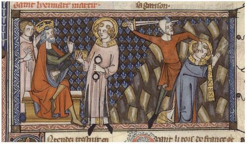 Saint Léonard devant Clovis Ier. Jacobus de Voragine, Legenda aurea, xive siècle.