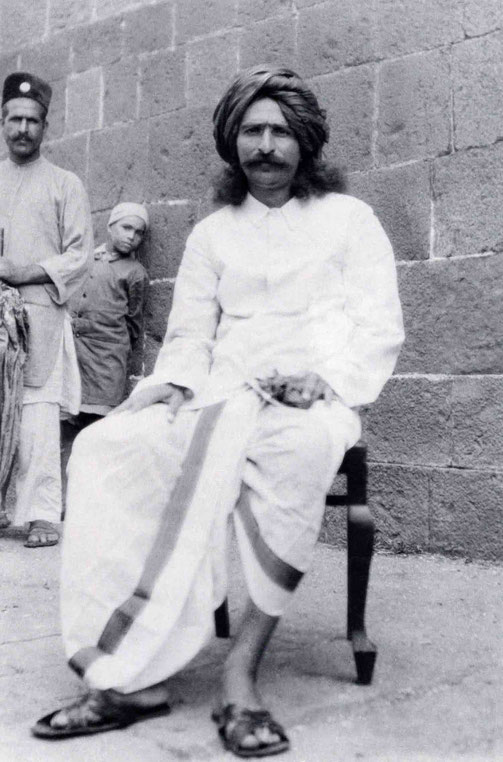 LM p.1083 : Meher Baba at Toka, India in 1928 with Rustom ( Baidul ) Jafrabadi and young lad.