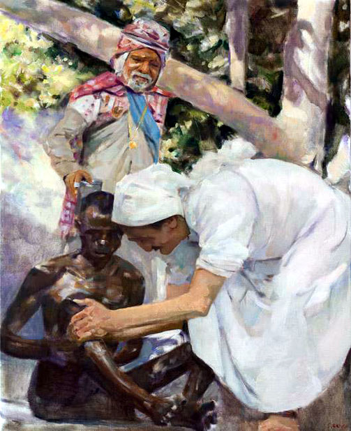 November 1954 : Meher Baba in Pandharpur, washing a leper with Saint Gadge Maharaj ( behind ). Painting by Gregg Rosen.