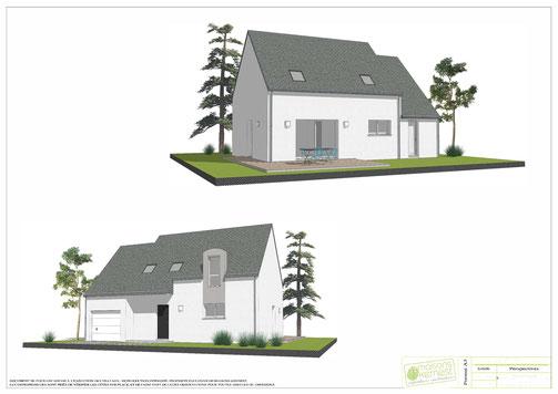 maison à étage traditionnelle 3 chambres avec enduit bicolore blanc et gris