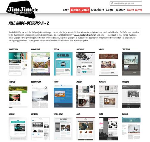 Gesamtübersicht und Details der Jimdo-Designs bei JimJim.de