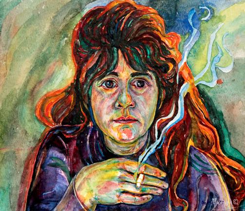 Selbstbildnis von Bettina Heinen-Ayech, 1977