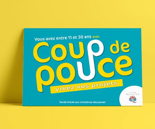 LSZ Communication - Graphiste - Directrice artistique freelance Nantes - #lepetitoiseaudelacom - VILLE DE QUIMPER - COUP DE POUCE - Flyer - Carte Postale