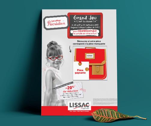 LSZ Communication - Graphiste - Directrice artistique freelance Nantes - #lepetitoiseaudelacom - LISSAC - OPTIQUE - affiche - mailing - flyer - coupon - Agence caribou