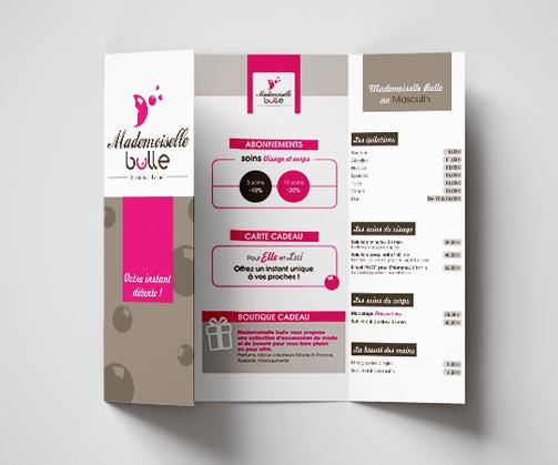 LSZ Communication - Graphiste - Directrice artistique freelance Nantes - #lepetitoiseaudelacom - MADEMOISELLE BULLE - ESTHETICIENNE - Institut de beauté - SAINT AIGNAN DE GRAND LIEU - Dépliant - plaquette tarifs - logo - carte de visite