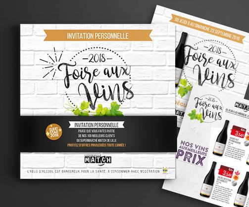 LSZ Communication - Graphiste - Directrice artistique freelance Nantes - #lepetitoiseaudelacom - SUPERMARCHE - MATCH - ALIMENTAIRE - Vins - flyer - invitation - Agence Caribou