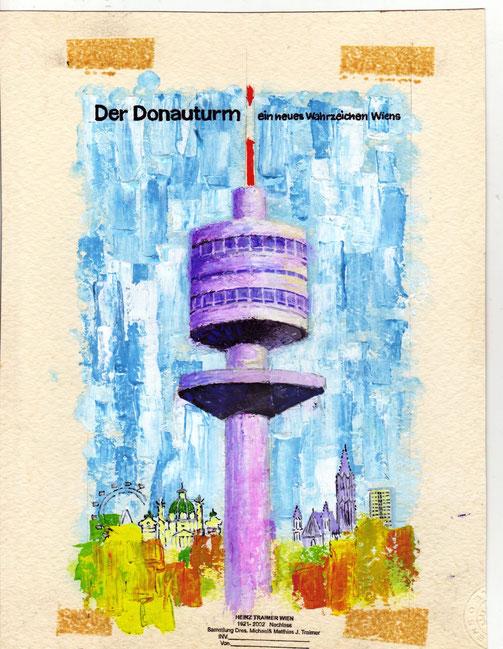 Donauturm Wien. Eroeffnung 1964. WIGA. Grafik von Heinz Traimer.