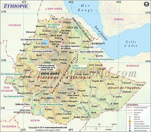 Ethiopie, carte géographique de l'éthiopie, carte de l'Ethiopie, Addis Abeba,