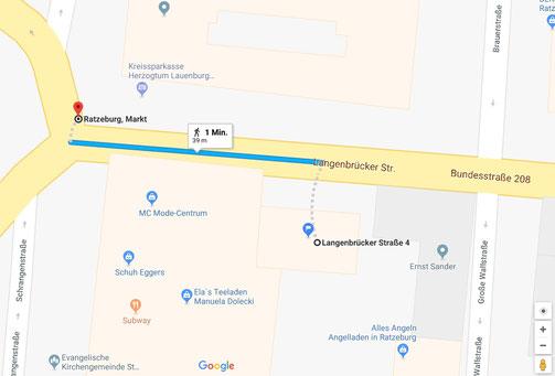 Entfernung Marktplatz zu Langenbrücker Str. 4, Ratzeburg (Quelle: Google Maps)
