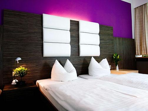 Ein modernes Zimmer im Hotel Albrechtshof in Gohrisch