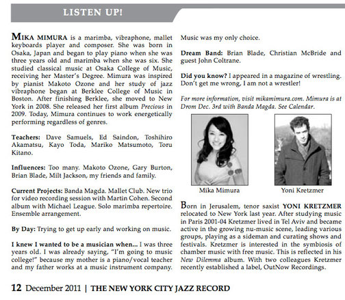 The New York Jazz Record Newspaper/ December 2011