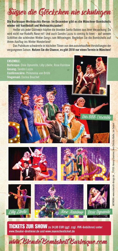 Die Blonde Bombshell Burlesque Weihnachts-Burlesque-Revue am 30.12.2017 in München im Wirtshaus im Schlachthof. Professionelles Burlesque Entertainment, auch buchbar für Ihre Weihnachtsfeier!