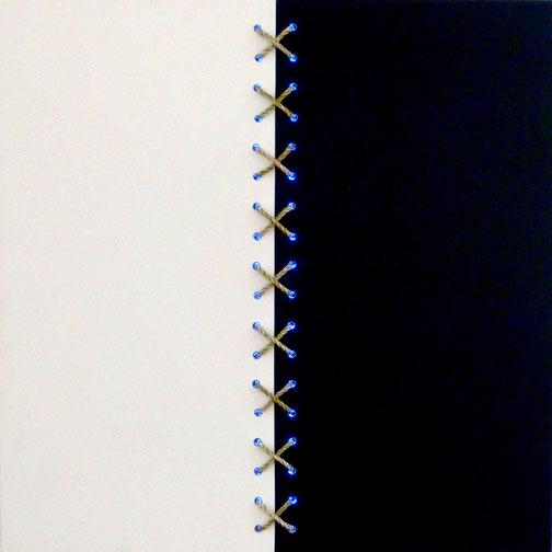 All energies are one, 80cm x 80cm x 6cm, schwarz und weiß