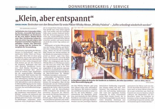 Die Rheinpfalz / Donnersberger Rundschau vom 18.9.2018