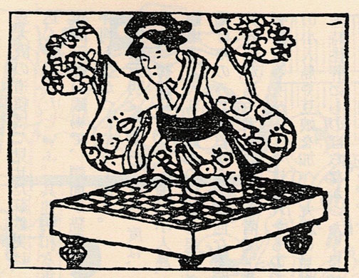 花笠を持って碁盤の上に乗る碁盤娘。『見世物研究』朝倉無声 ちくま学芸文庫より。