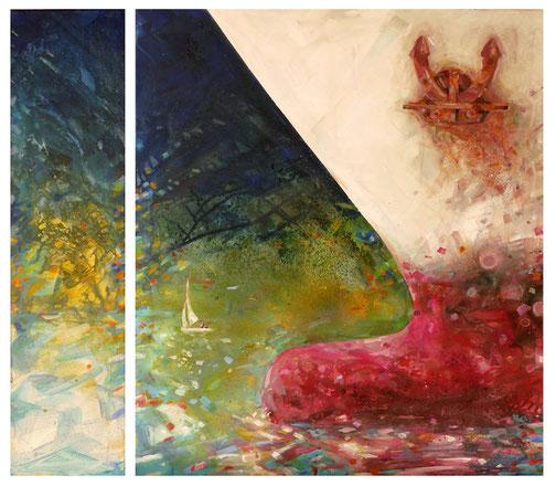 •  Titel: Bugwulst 2  •  Format: 90 cm x 80 cm  • Acryl auf Leinwand